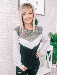 Camo & Grey Block Sweater - This & That Boutique Shop