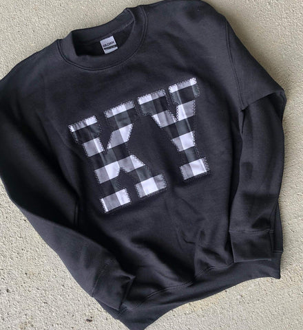 Plaid State Sweatshirt (ANY STATE AVAILABLE) (PRE-ORDER) - This & That Boutique Shop