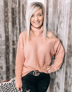 Blush Open Shoulder Sweater - This & That Boutique Shop
