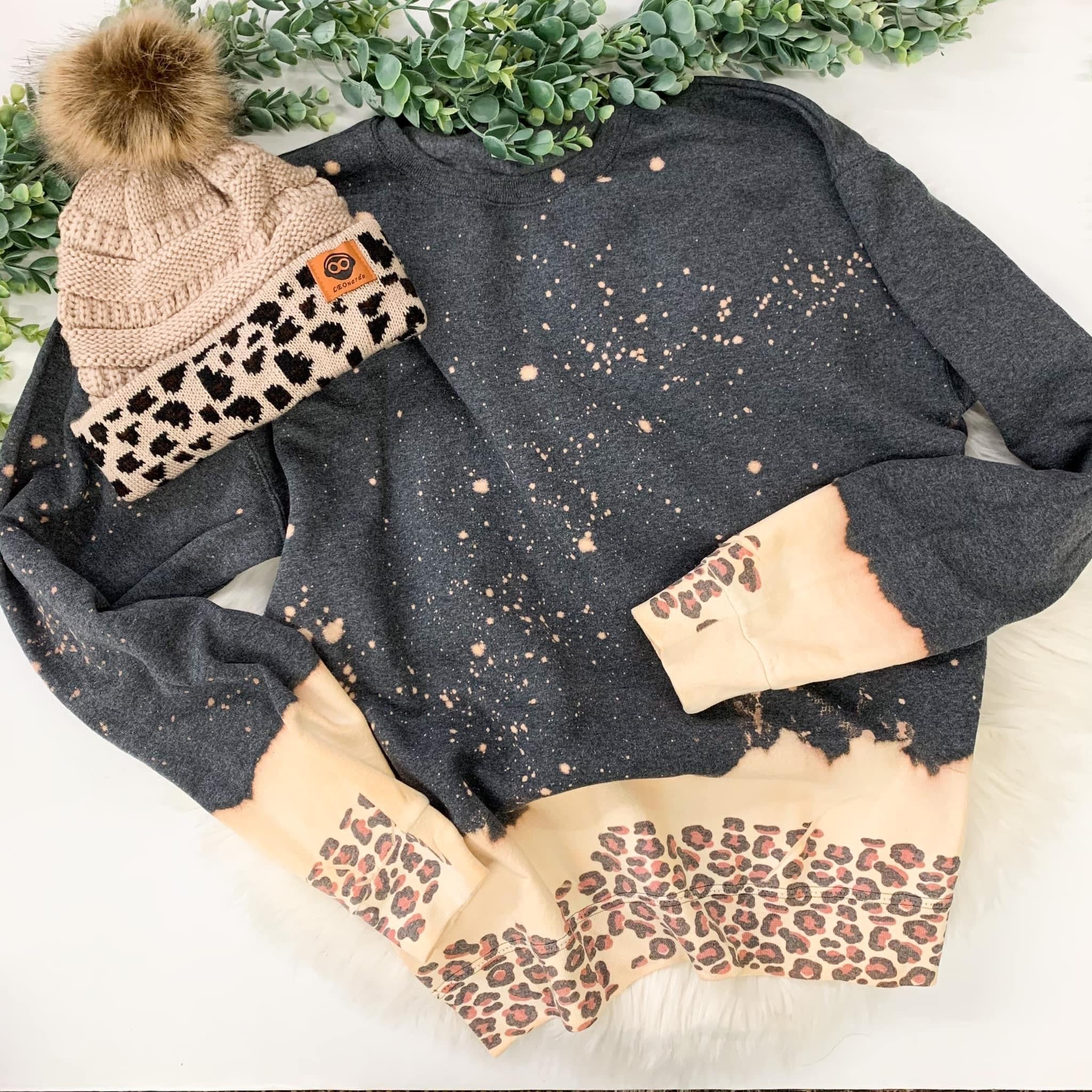 Bleached Leopard Sweater (PRE-ORDER) - This & That Boutique Shop