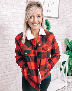 Red & Black Fur Lined Plaid Jacket - This & That Boutique Shop