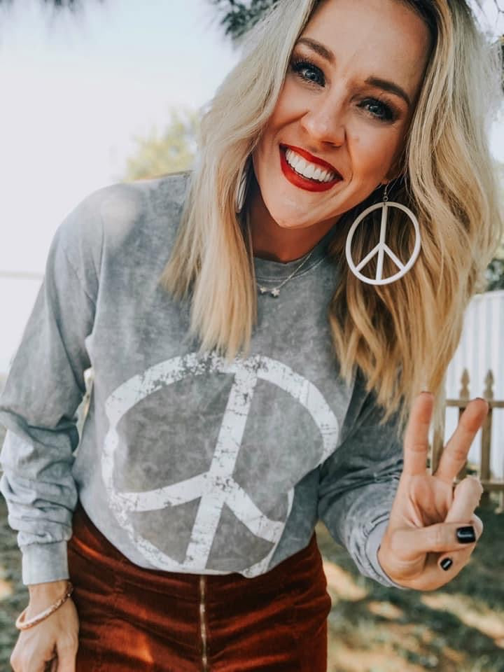 Peace Long Sleeve Top - This & That Boutique Shop