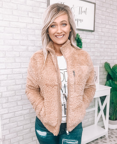 Camel Sherpa Jacket - This & That Boutique Shop