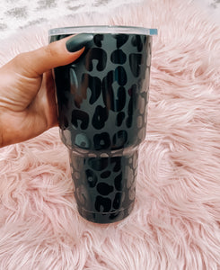 Leopard Print Black Tumbler - This & That Boutique Shop