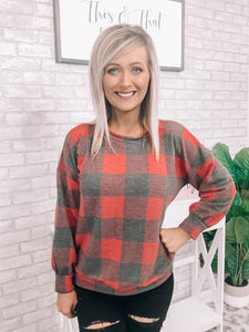 Plaid Light Weight Sweater - This & That Boutique Shop