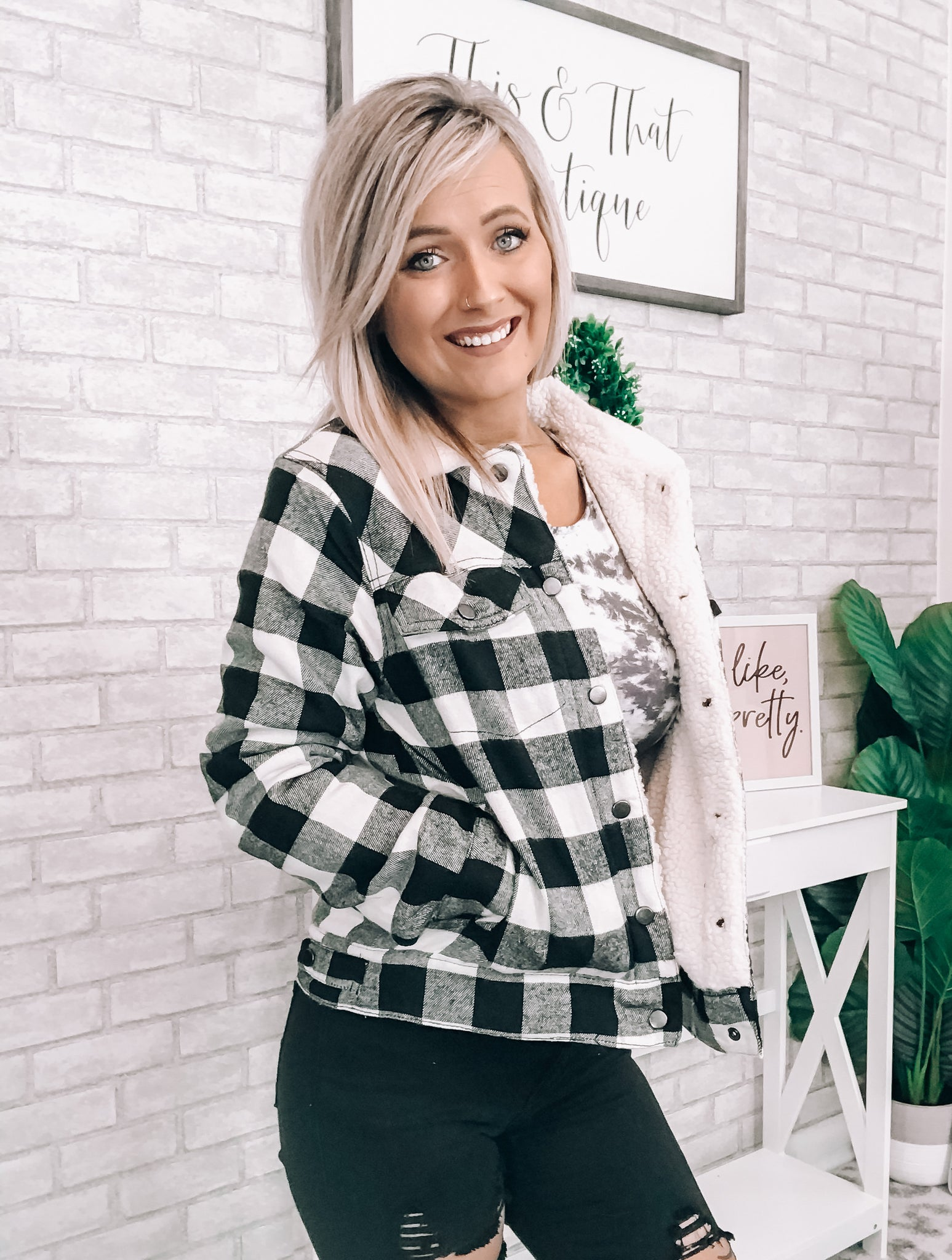Plaid Fur Lined Jacket - This & That Boutique Shop