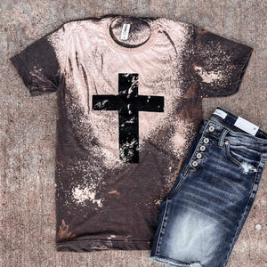Bleached Cross Tee - This & That Boutique Shop