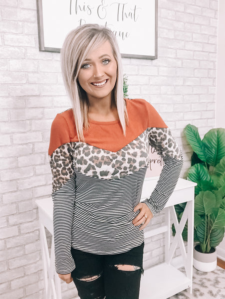 Leopard and Rust Striped Top - This & That Boutique Shop