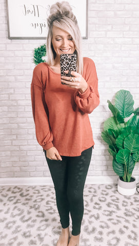 Rust Balloon Sleeve Top - This & That Boutique Shop