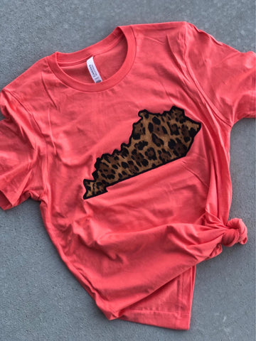Coral KY State Tee (ANY STATE) (PRE-ORDER) - This & That Boutique Shop
