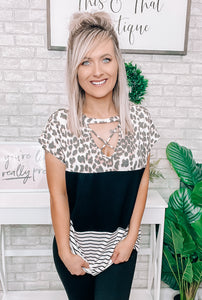 Leopard & Black Block Top - This & That Boutique Shop