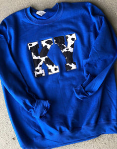 Cow Print State Sweatshirt (ANY STATE AVAILABLE) (PRE-ORDER) - This & That Boutique Shop