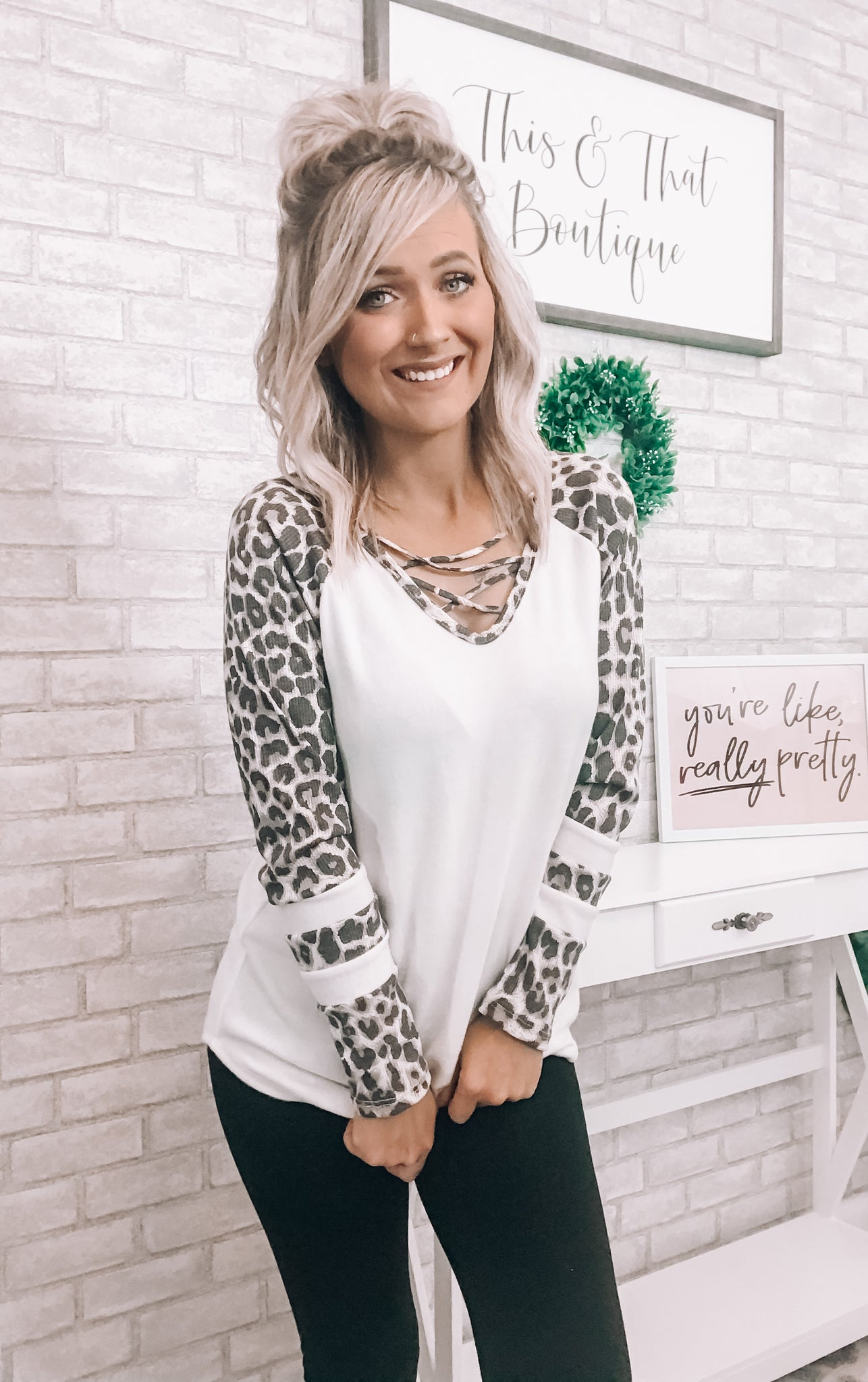 Leopard Sleeve Top - This & That Boutique Shop