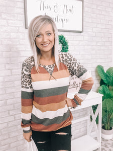 Striped Leopard Patch Top - This & That Boutique Shop