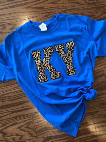 KY (ANY STATE) Blue Leopard Tee (PRE-ORDER) - This & That Boutique Shop