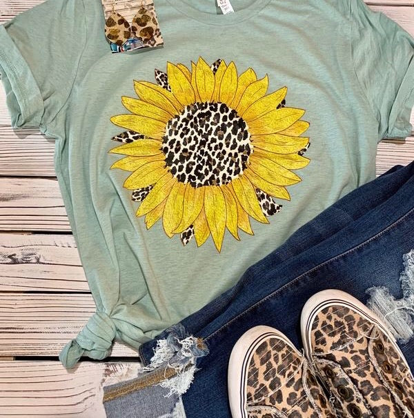 Leopard Sunflower Tee (PRE-ORDER) - This & That Boutique Shop