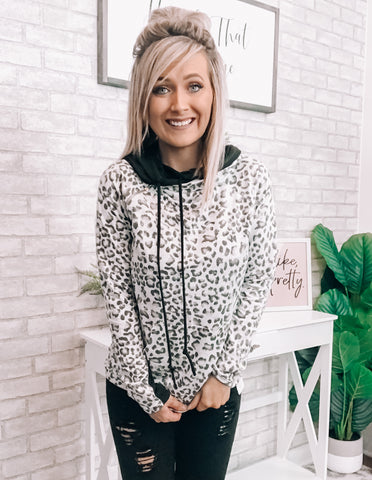Leopard & Black Hoodie - This & That Boutique Shop