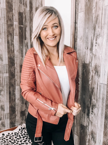 Mauve Leather Jacket - This & That Boutique Shop