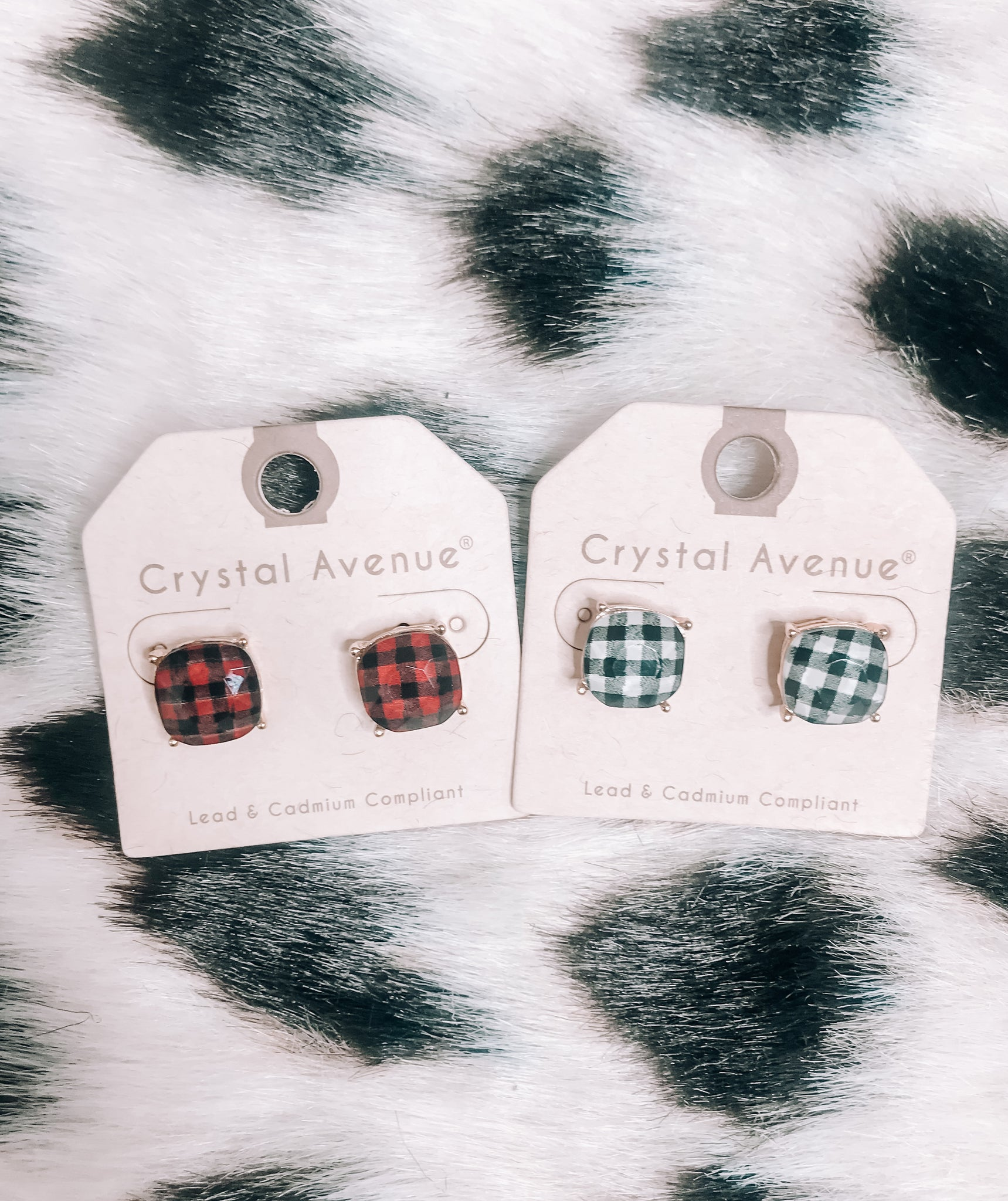 Plaid Stud Earrings - This & That Boutique Shop