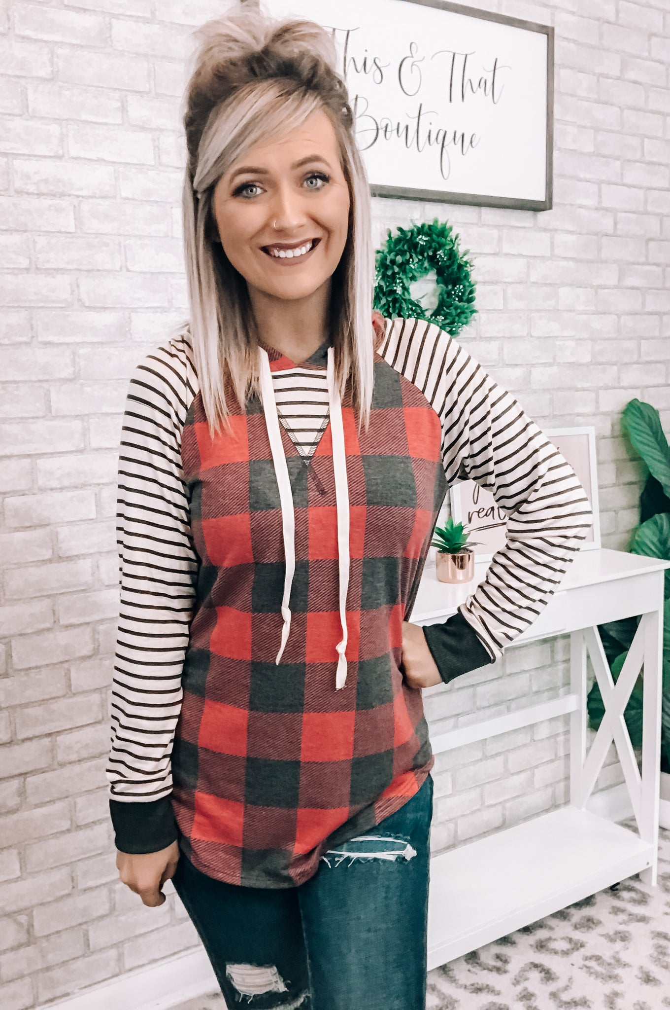 Plaid and Striped Hoodie - This & That Boutique Shop