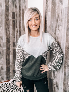 Leopard, Gray & Charcoal Block Sweater - This & That Boutique Shop