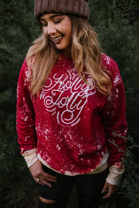 Holly Jolly Bleached Sweatshirt - This & That Boutique Shop