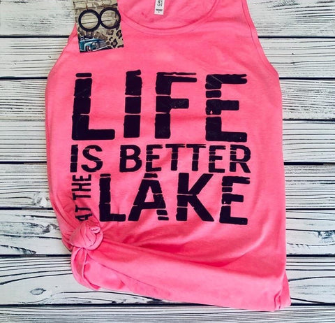 Life is Better at the Lake Pink Tank (PRE-ORDER) - This & That Boutique Shop