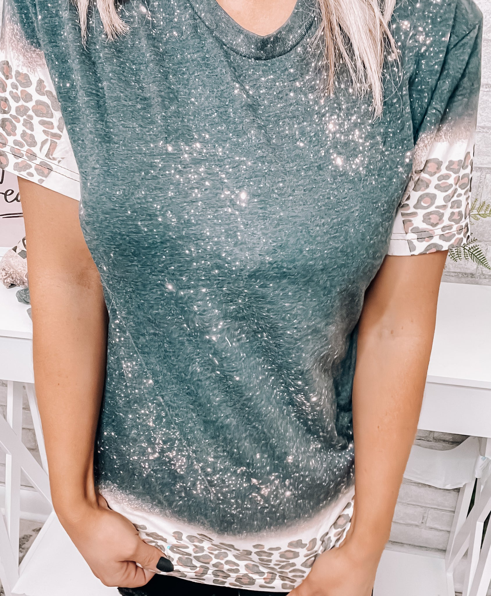 Sprinkled With Leopard Bleached Tee - This & That Boutique Shop