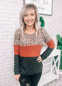 Rust & Gray Leopard Block Top - This & That Boutique Shop