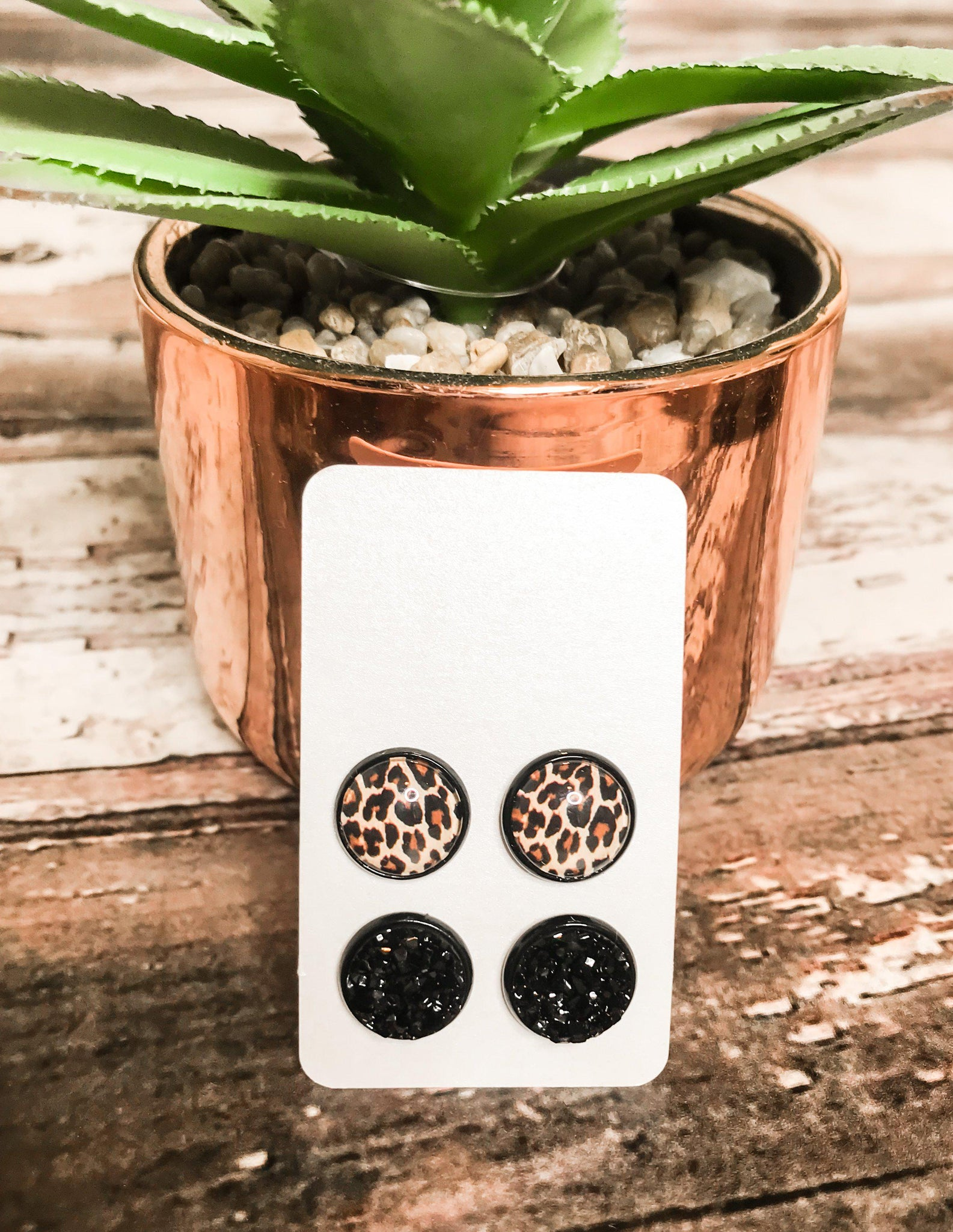 Leopard and Black Stud Earrings - This & That Boutique Shop