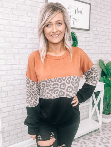 Rust & Leopard Block Sweater - This & That Boutique Shop