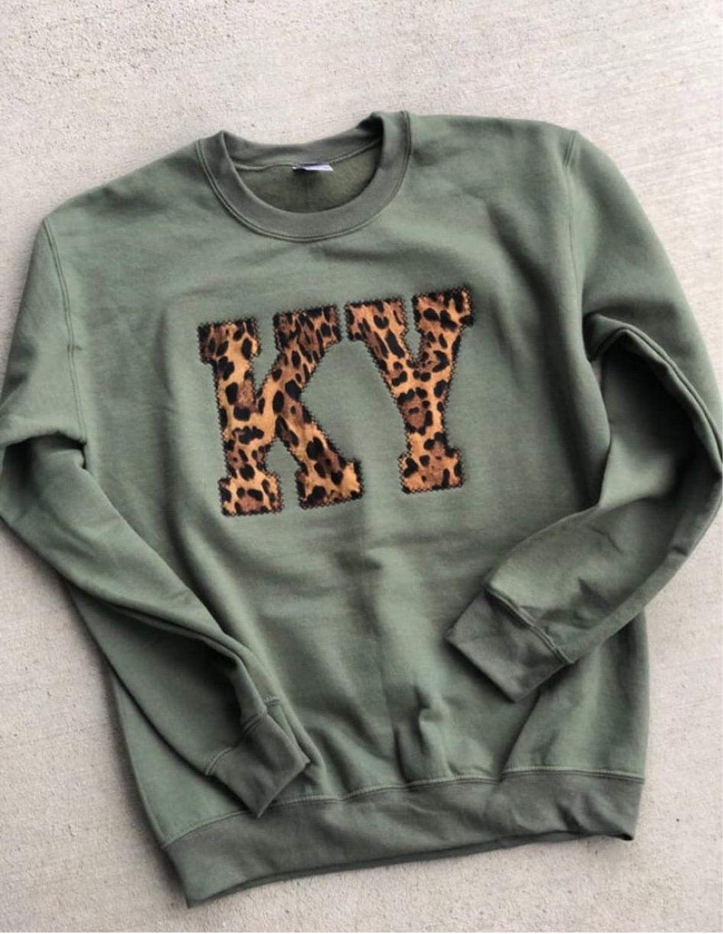 Olive & Leopard State Sweatshirt (ANY STATE AVAILABLE) (PRE-ORDER) - This & That Boutique Shop