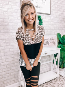 Leopard & Striped Strappy Top - This & That Boutique Shop