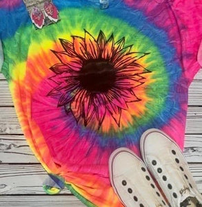 Tye Dye Sunflower Tee - This & That Boutique Shop