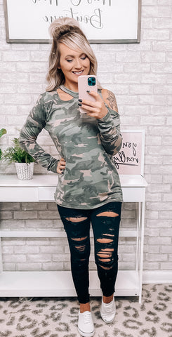 Camo Open Shoulder Light Weight Top - This & That Boutique Shop