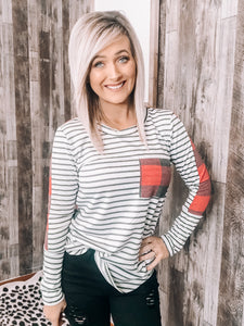 Plaid & Striped Pocket Top - This & That Boutique Shop