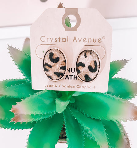 Oval Leopard Studs - This & That Boutique Shop
