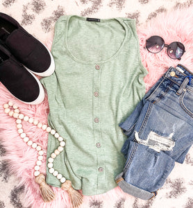 Sage Button Down Tank - This & That Boutique Shop