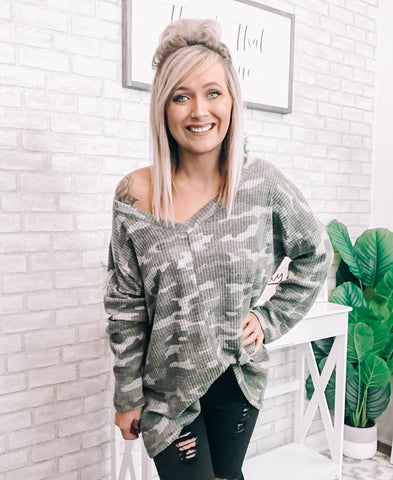 Camo Oversized Top - This & That Boutique Shop