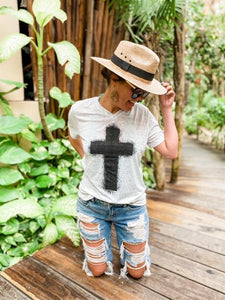 Cross V-neck Tee