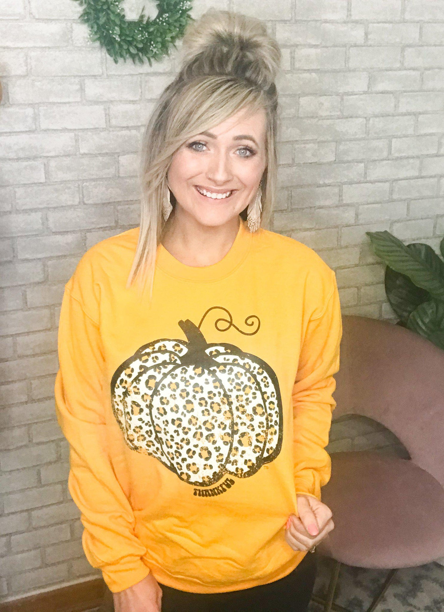 Mustard Pumpkin Sweater - This & That Boutique Shop