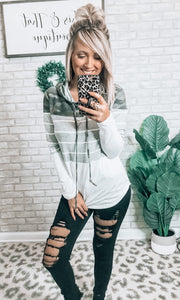 Camo & Striped Hooded Top - This & That Boutique Shop