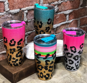 Leopard Glitter Tumbler - This & That Boutique Shop