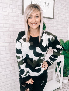 Black, Olive & Ivory Camo Sweater - This & That Boutique Shop