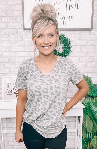 Gray & Leopard Tee - This & That Boutique Shop