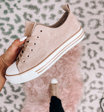Taupe Flat Sneakers - This & That Boutique Shop