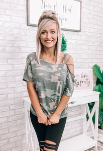 Camo Strap Top - This & That Boutique Shop