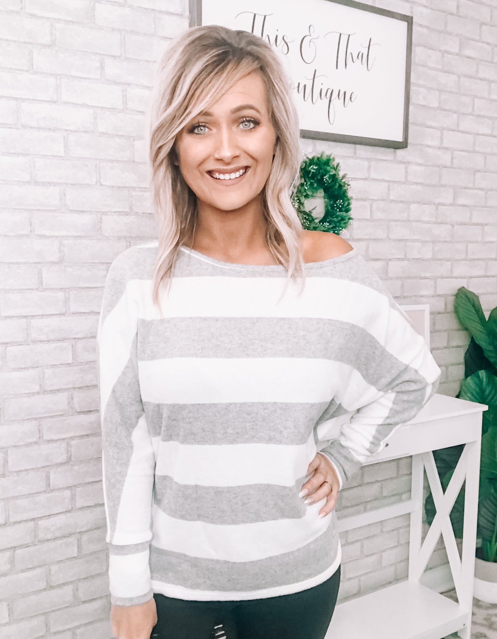 White & Grey Striped Top - This & That Boutique Shop