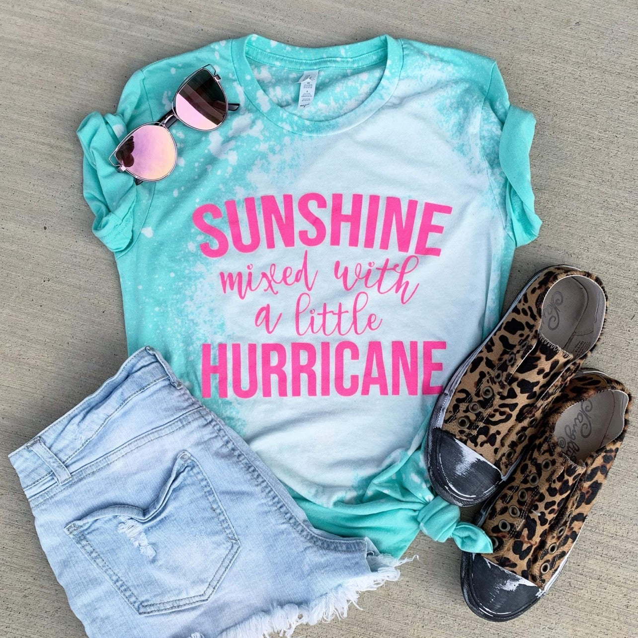 Hurricane Bleached Tee - This & That Boutique Shop