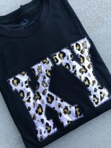KY Black Leopard Tee (ANY STATE) (PRE-ORDER) - This & That Boutique Shop